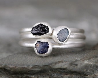 Blue Sapphire Rings -  Raw Uncut Rough Sapphires - Sterling Silver Stacking Rings- Colored Gem Ring - Raw Sapphire - September Birthstone