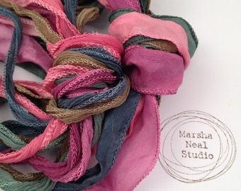 Silk Ribbon Jewelry Supplies Hand Dyed Silk Cord Hand Painted Silk Ribbons Garden Muted Palette Silky and or Fairy Ribbons