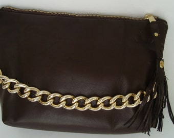Brown Leather Clutch With Chain Detail