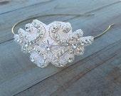 Rhinestone Silver White Headband Design Wedding Hair Crown Bridal Head Piece Flower Girl Bride Prom Skinny Head Band
