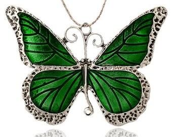 Butterfly Pendant - Green Enamel - Extra Large - #PND249