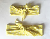 Top Knot Headband Matching Set, Mommy and Me, Headband Set, Yellow Polka Dot