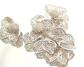 Judy Lee Demi Parure Vintage Brooch & Earring Silver Tone Large Leaf Brooch Flower Earrings