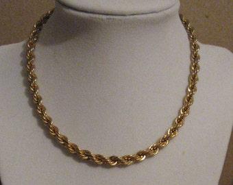 """Vintage Gold Napier Necklace - Twisted Design - 14"""""""
