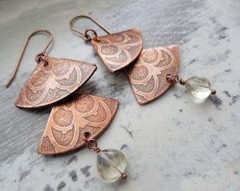 Copper Etched Fan Shape Gemstone Dangle Earrings, Lemon Quartz, Chandelier Earrings
