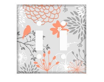 Coral Gray Switchplate Cover, Light Switch Cover Single, Triple Switchplate, Double switchplate, Coral Light Switch Cover