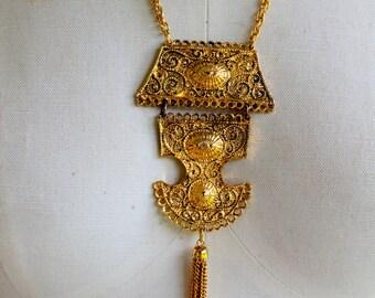 HMS Necklace Signed GOld Medallion Tribal Tassel 1960s Vintage