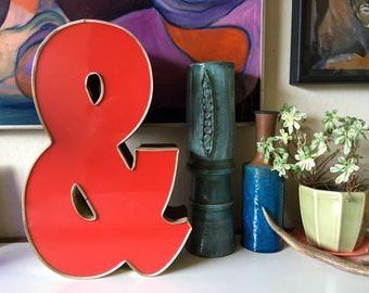 """Vintage Red metal Industrial letter Ampersand ~&~ And symbol ~And the beat gos on~ Wall art vintage salvage 16"""" Tall"""
