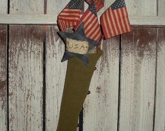 Primitive Patriotic Stocking Door Greeter