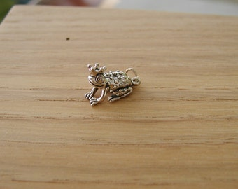 Frog with Crown Sterling Silver Charm