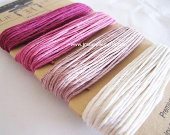 Cord, Hemp, Shades of Ruby Pink, 1mm Diameter