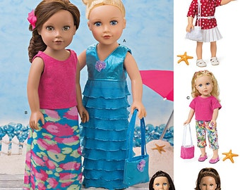 DOLL CLOTHES PATTERN For American Girl Dolls / Make Modern Summer Clothes / Kanaii - Lea