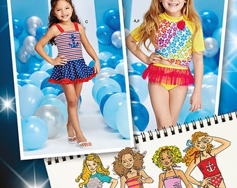 GIRLS SWIMSUIT PATTERN / Mix and Match Two Piece Swimsuits with Rash Cover Shirt in Sizes 3 to 8