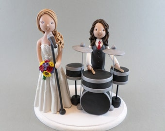 Singer & Drummer Personalized Wedding Cake Topper
