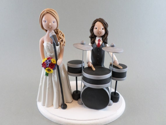 drummer wedding cake topper singer amp drummer personalized wedding cake topper by mudcards 13755