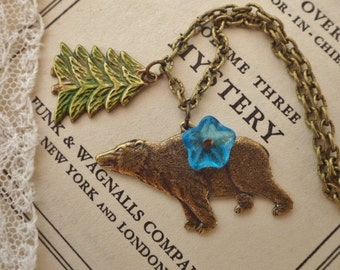 Bear Necklace ~ Grizzly Bear Necklace ~ Bear Jewelry ~ Charm Necklace ~ by Upsweptillusions