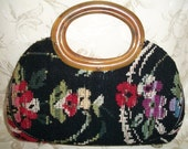 Vintage Tapestry Needlepoint Floral Clutch Purse with Lucite Bakelite Handle