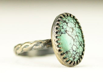 Turquoise Stacking Ring - Sterling Oval Turqoise Ring on Rope Band