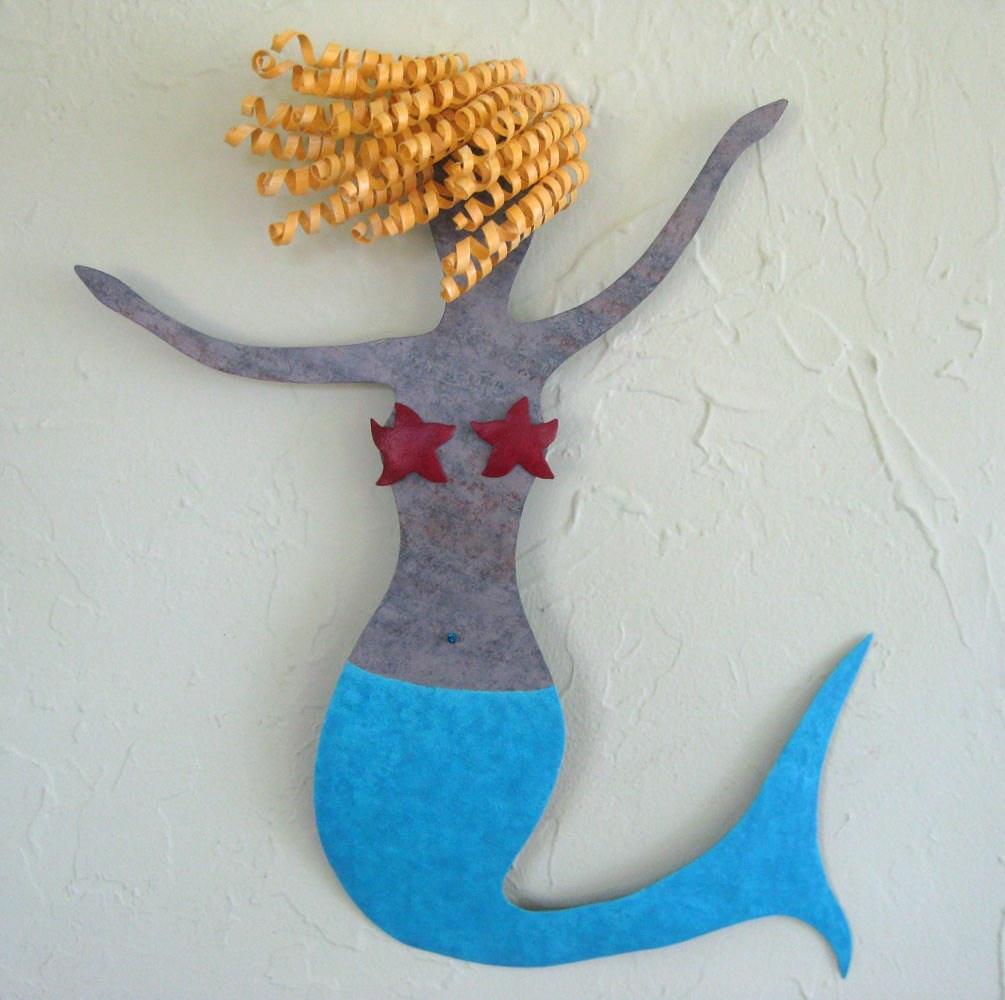 Mermaid Metal Wall Art Sea Life Clara Beach House Wall