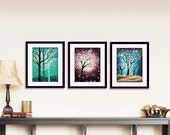 Set of 3 Prints Abstract Tree Prints Modern Wall Art Landscape Print Woodland Decor Turquoise Burgandy Blue