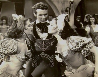 Vintage Cyd Cherise Ricardo Montalban Ann Miller Original 1948 Black and White Photograph from THE KISSING BANDIT movie