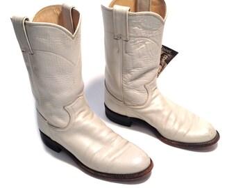 Vintage Cowboy Boots White Leather Cowboy Boots Womens Boots Size 7 Womens Cowboy Boots Cowgirl Boots White Leather Boots Southwestern Boots