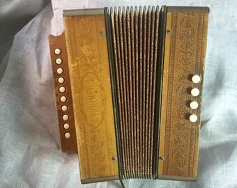 Vintage Hohner Accordion - key of C - 1950s German melodeon - working accordion - instrument - button accordion - boho decor - hipster