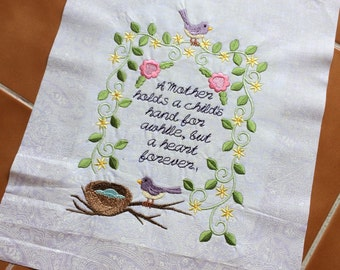 Mother / Mom - embroidered quilt block - ready to sew or frame 10 in x 12 in / gift for her / DIY / homemade / handmade / bird nest / quilt