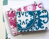 4 x 6 Index Card or Note Card Binder, Suzani Set, Pink and Teal