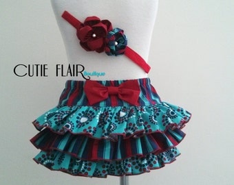 Baby Ruffle Bloomer and Matching Headband, Girl Diaper Cover, Turquoise Bloomers, Newborn Photo Prop, Girl Cake Smash, 18-24M Ready To Ship