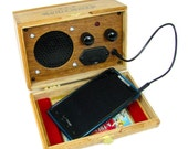 Cigar Box Smartphone/Cell Phone Amplifier Speaker - Great Loud Sound - Compatible with all modern smartphones & MP3 players