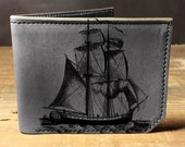 wallet - leather wallet - pirate ship wallet - mens wallet - 002