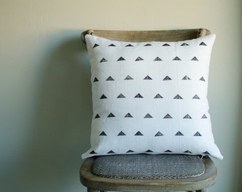 Block Printed Pillow Cover in Black Triangles 20x20 other sizes available