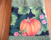 Green Terry Towels with a Pumpkin & Blossom Fabric - Set of 2