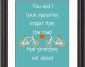 The Beatles/Two Of Us, Lyricial Art Print, Bicycle Art Print, Art For Couples, Colorful Typography Art, Art on Canvas, Music poster art