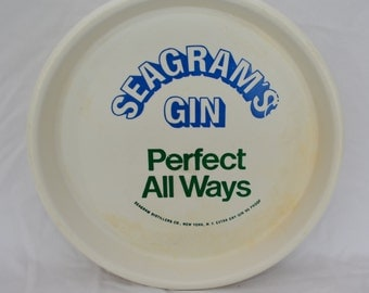 sale Vintage SEAGRAM'S GIN plastic serving tray 1970's barware man cave