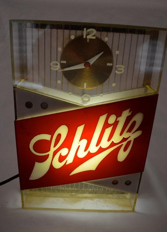 Vintage Schlitz Beer Lighted Bar Clock Sign Dated 1959 Works