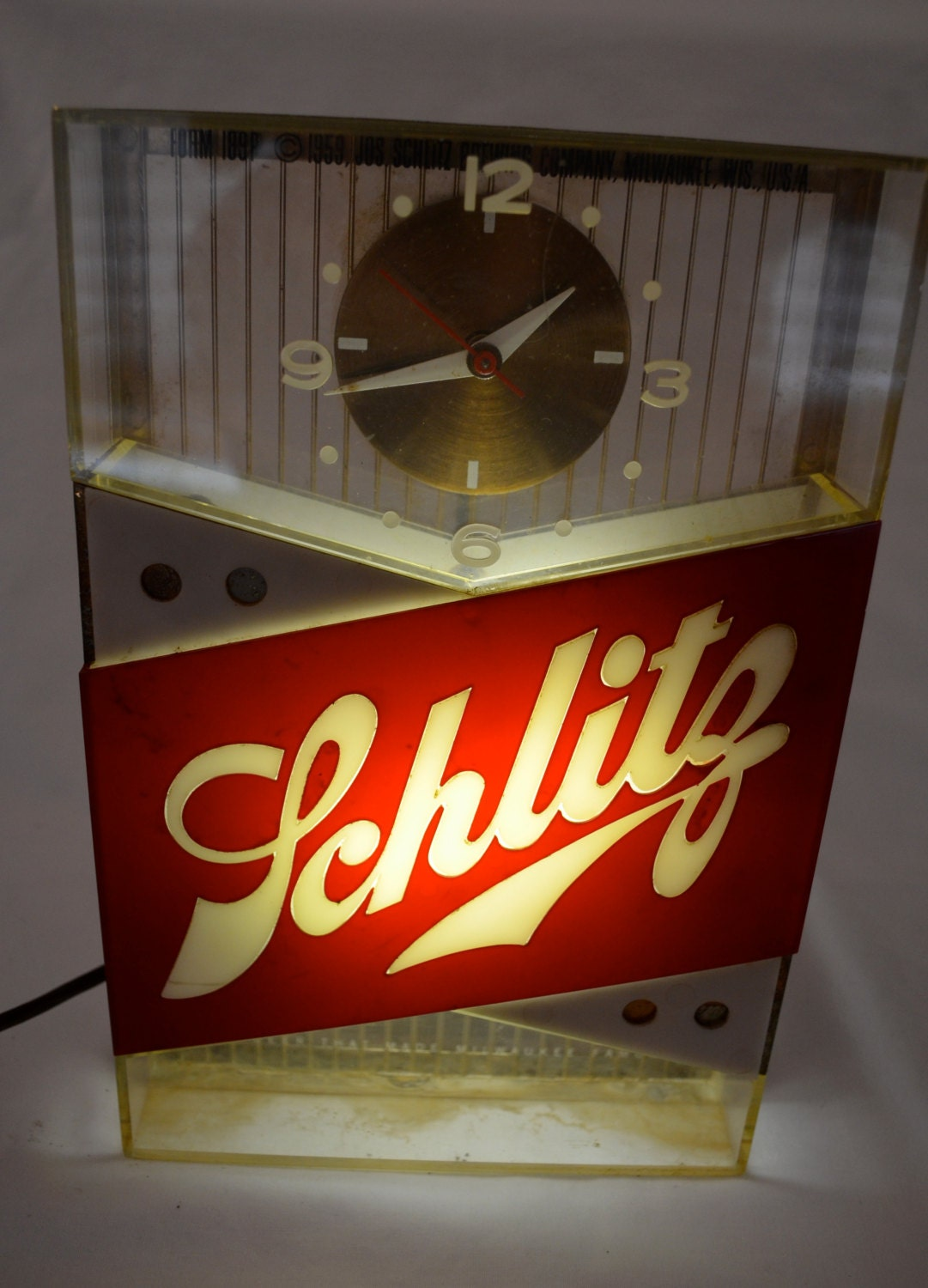 Vintage Schlitz Beer Lighted Bar Clock Sign Dated 1959 Works