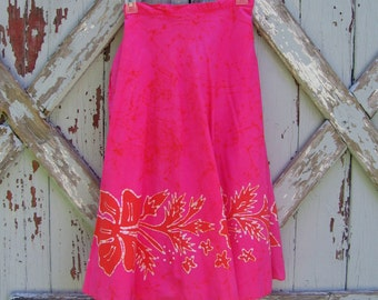 Tropical hippie - vintage 1960's Hawaiian wrap skirt XS S M
