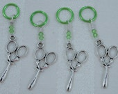 Knitting stitch markers, silvertone scissors on green hoops, 4 pieces