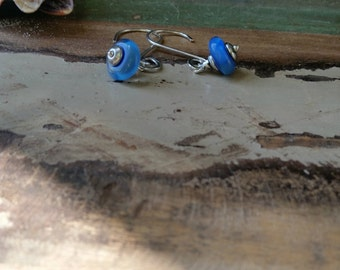 Ocean Blue Glass And Sterling Silver Earrings 096e