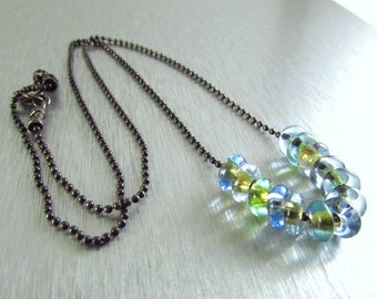 Vintage Glass And Oxidized Sterling Silver Necklace