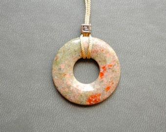 Pendant - Spring Meadow - Green Jasper, round, pastel pendant, minimalism , modern, art to wear, ooak, contemporary- by Schneider Gallery