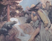 The Prince and the Frog LARGE Vintage Maxfield Parrish Color Litho