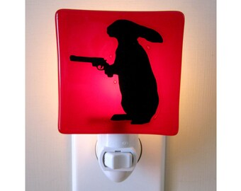 Rabbit With a Gun Night Light - Funny Gifts for Friends - Hand Painted Glass