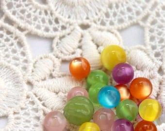 Glass Bead Destash - Vintage Find - Colorful - Crafts, 2 size, Rainbow (19)