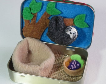 Tiny Sloth Baby felt plush Altoid tin play set with hanging tree snuggle bag and food -  Rain forest animal with bendable legs
