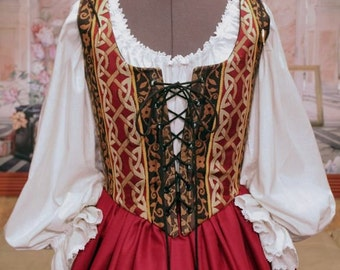 Celtic Renaissance Wench or Maiden Reversible Bodice and Skirt, Gown or Dress, Custom sized for You