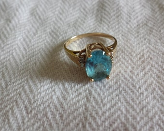 December Birthday Vintage topaz and ring