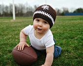 Crochet Baby Football Hat, Newborn Football Hat, Baby Boy Hat, Field Goal/Tackle/Touchdown/LET'S PLAY Some FOOTBALL Baby Hat (Ready to Ship)